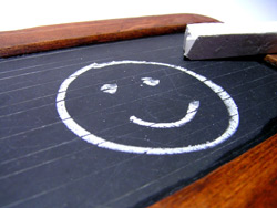 Lächeln auf Tafel