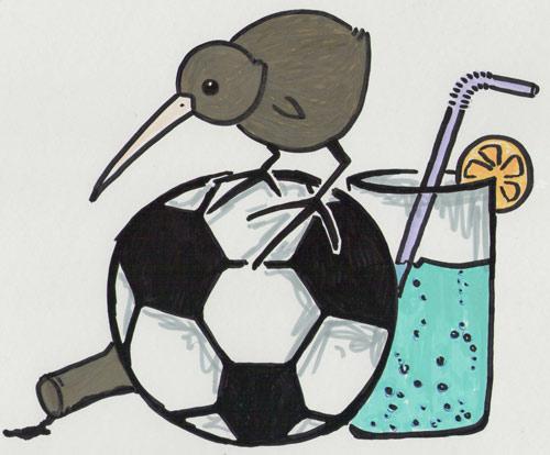 Kiwi auf Fußball & Alkohol