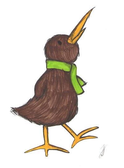 Kiwi mit Schal