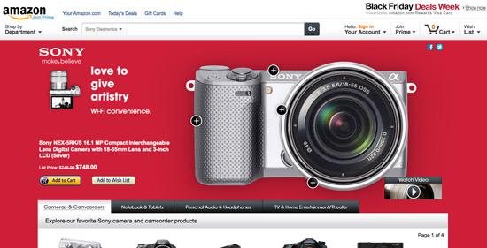 Die Amazon-Seite von Sony