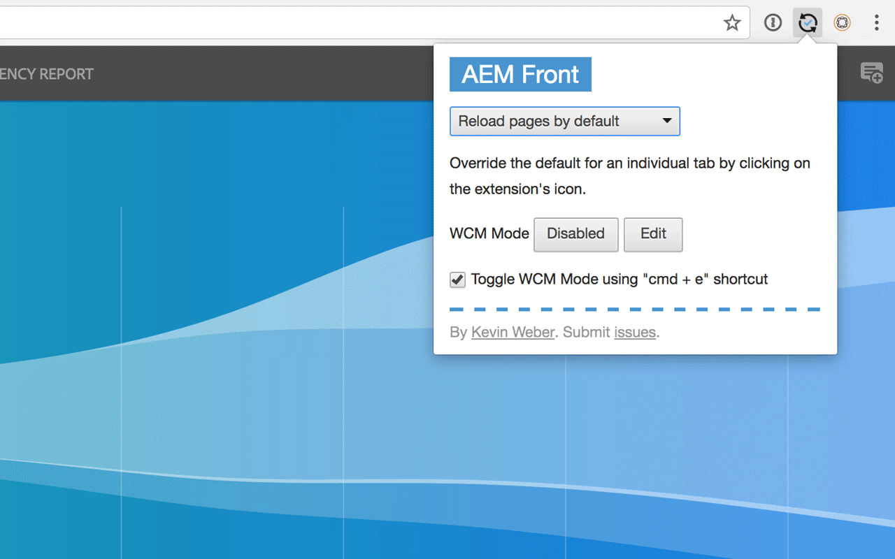 Screenshot of AEM Front Extension in Google Chrome