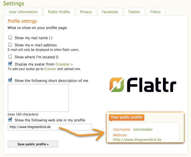 Website bei Flattr angeben