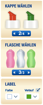 Kappe, Flasche und Farbe wählen
